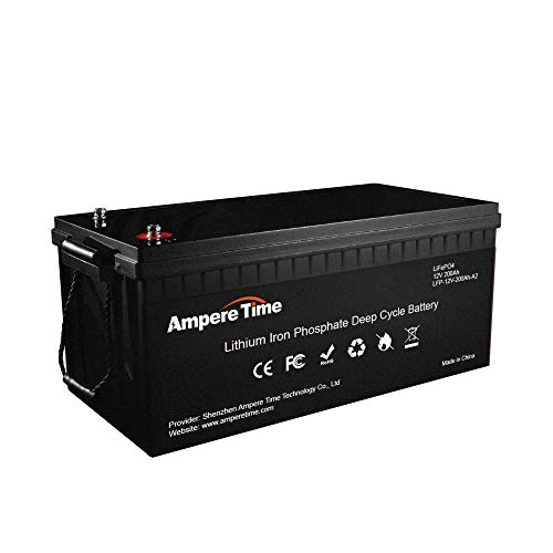 Ampere Time 12V 200Ah Lithium-Eisenphosphat LiFePO4 Deep Cycle Batterie, Built-in 100A BMS, 2000+ Zyklen, maximal 280 Ampere, perfekt für Wohnmobile, Solar, Marine, Overland, Off-Grid usw
