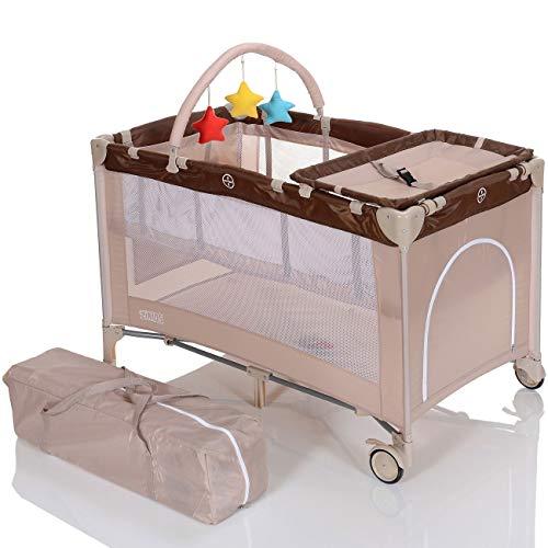 LCP Kids Baby-Reisebett 120x60 klappbar mit Neugeborenen Einlage Wickelauflage in Beige