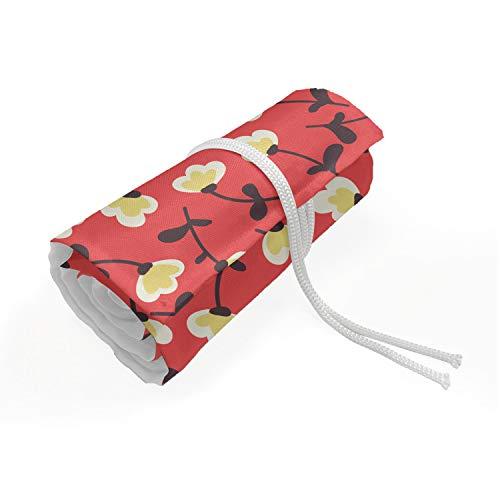 ABAKUHAUS Fiore Trousse à Crayon Enroulable, Floral Spring Theme, Organisateur de Crayon Durable & Portatif, 48 Trous, crema Coral