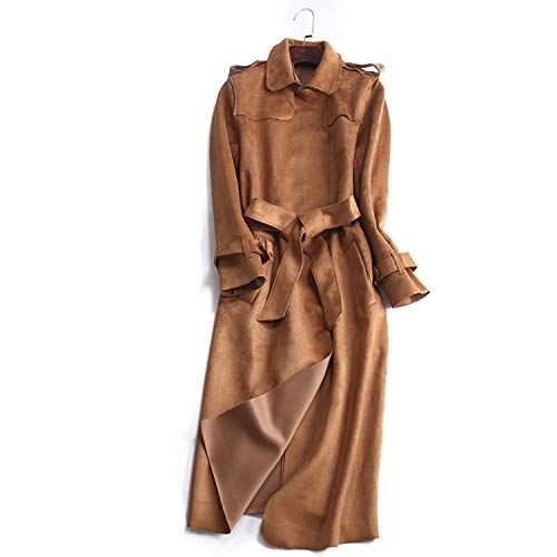 Groene Plaid Herfst Suede Trench Jas Vrouwen Abrigo Mujer Lange Outwear Overcoat Slim Rood Suede Cardigan Trench