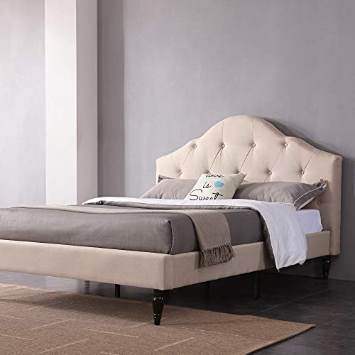 Classic Brands Winterhaven Upholstered Platform Bed | Headboard and Metal Frame with Wood Slat Support, Queen, Linen