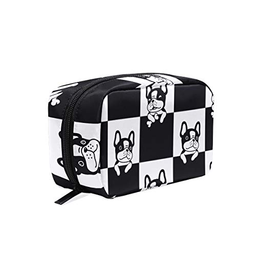 Women's Cosmetic Bag Black French Bulldog Makeup Bag for Travel Cosmetic Pouch Brush Bag(3be0e)