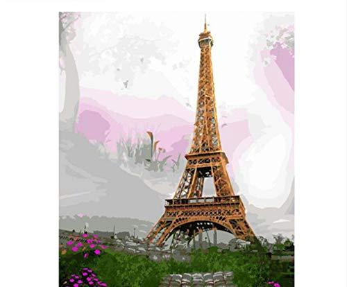 WAZHCY Moderne Malerei Der Eiffelturm Landschaft DIY Malen Nach Zahlen Kits Zeichnung Malen Nach Zahlen Wohnkultur Wandkunst 40X50 cm,Mit Holzrahmen,D