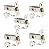 5 x Sets of Tubular Door Latch - High Quality Chrome Finish - for Use with Lever Door Handles - 63mm or 75mm - Handlestore® (63mm (2.5'))