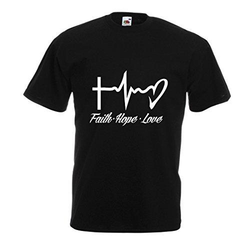 lepni.me Männer T-Shirt Glaube - Hoffnung - Liebe - 1. Korinther 13:13, christliche Zitate und Sprichwörter, religiöse Sprüche (X-Large Schwarz Mehrfarben)