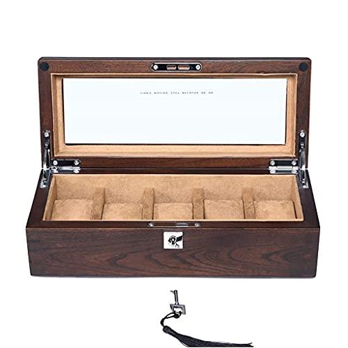 Caja de reloj - Caja de reloj de madera para hombres 5 ranuras Soporte de reloj de madera maciza de primera calidad Organizador Pantalla Caja de reloj grande Regalos elegantes y duraderos para hombres