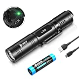 WUBEN LED Flashlight 1200 Lumens Super Bright Rechargeable Tactical Flash Light Waterproof 5 Modes Handheld Pocket Flashlights for Outdoor Camping Hiking Emergency (with 18650 Battery)