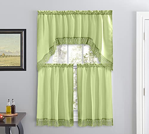 Café Curtains for Kitchen, Bathroom Curtains with Valance, Embroidered lace Border. (Green)