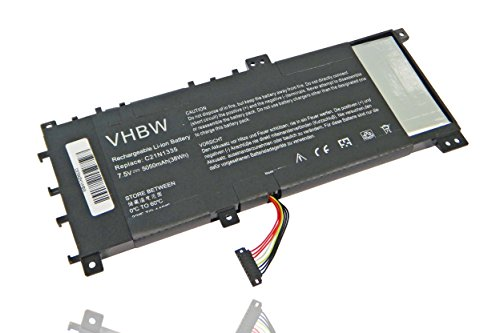 vhbw Li-Polymer batterie 5050mAh (7.5V) pour ordinateur, pc Asus VivoBook S451, S451LA, S451LB, S451LN comme 0B200-00530100, C21-N1335, C21N1335.