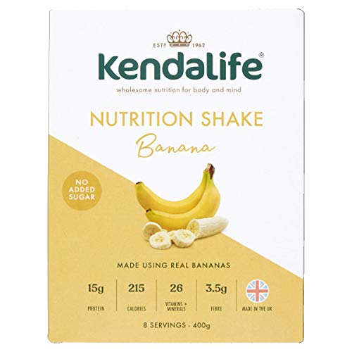 Kendalife Nutrition Shake Drink Powder for Adults, 26 Vitamins and Minerals, Protein, Calcium and Vitamin D, Food Supplement, Meal Replacement, Energy Boost, 400g Banana Flavour