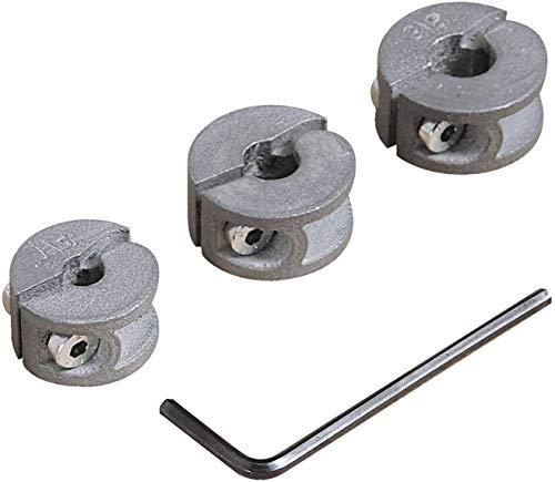 Wolfcraft 2755000 2755000-3 topes de Profundidad para Brocas diam. 6, 8, 10 mm, plata, Set de 3 Piezas