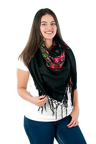 Große Stilvolles Schal-Tuch mit schönem,slawische Folklore Muster Winter 2016 Schwarz