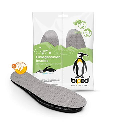biped 3 Paar Kinder Aktivkohle Latex Einlegesohlen Größe 22-35 - zum Zuschneiden - zur Klimaregulierung, für hygienisch frische Schuhe und Füße z2726