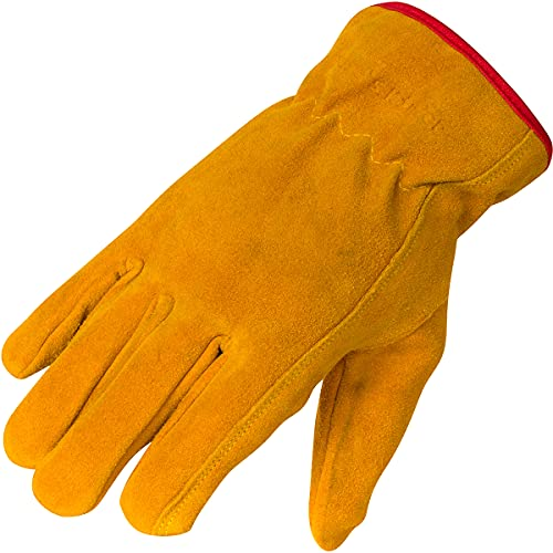 Suede Leather Work Gloves for Kids - Smooth Luxurious Feel, Soft, Comfortable, Flexible, Durable. Ideal for Gardening, Bike Riding, Stylish for Boys & Girls (Xl (ages 12-14))