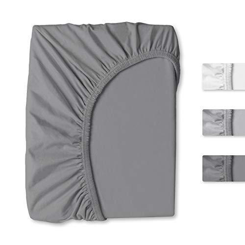 Pure Label Jersey Spannbettlaken   Spannbetttuch   Spannlaken aus 95% Baumwolle 5% Elasthan, Größe: 140-160x200cm + 30cm, Farbe: Anthrazit