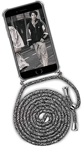 OneFlow® Handykette + Hülle passend für iPhone 6S Plus / 6 Plus | Stylische Kordel Kette - Kristallklare Handyhülle mit Band zum Umhängen in Schwarz Grau Weiß