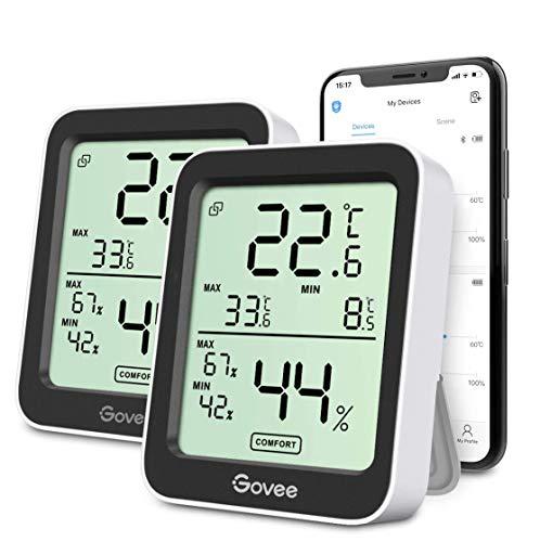 Govee Thermometer Hygrometer Innen, Bluetooth Thermometer Hygrometer mit App-Steuerung Benachrichtigung Datenspeicherung, für Hausgarage Gewächshaus Weinkeller, 2er-Pack