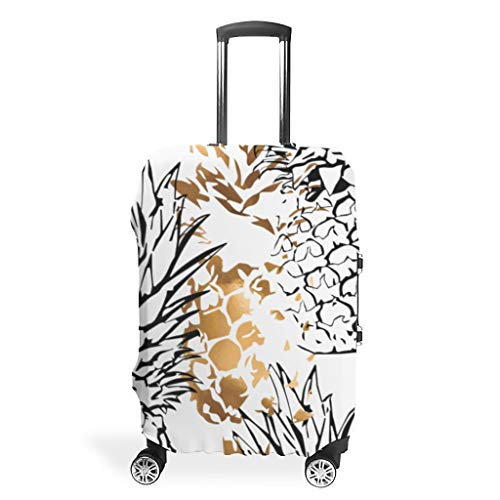 Zhcon Travel Luggage Cover Fashion Spandex Travel Suitcase Protector Jacket Anti-Thief Baggage Protective Case Pineapple Fruit Printed White XL (76x101cm)