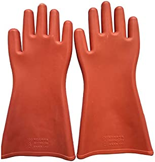 Whiteswanau 1 Pair Professional 12 Kv High Voltage Electrical Insulating Gloves Against Electricity Safety Rubber Gloves for Electrician
