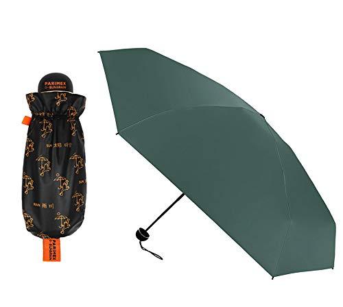 PARIMEX Sun&Rain Paraguas Mini Mujer (18 cm Cerrado) y superligero. Paraguas Plegable protección Solar SPF 50+Plus. Paraguas Antiviento y antigoteo. (Verde Azulado)