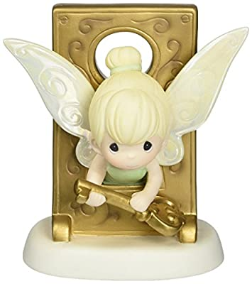 Precious Moments, Disney Tinker Bell in Key Hole Figurine, Porcelain Bisque Figurine, 153013