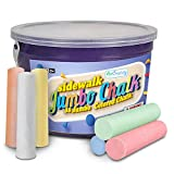 ArtCreativity Jumbo Sidewalk Chalk Set for Kids - 38 Colorful Chalk Pieces in a Storage Bucket - Portable, Dust Free and Washable - For Driveway, Pavement, Outdoors - Great Arts and Crafts Gift (Office Product)