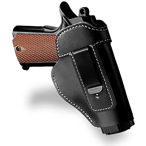 Seawolf Gun Holster Concealed Carry Leather Holster for Pistols Universal IWB Full Grain Leather Holster Fits S&W M&P Shield Glock 17 19 22 23 32 33 Springfield XD XDS Plus All Similar Handguns