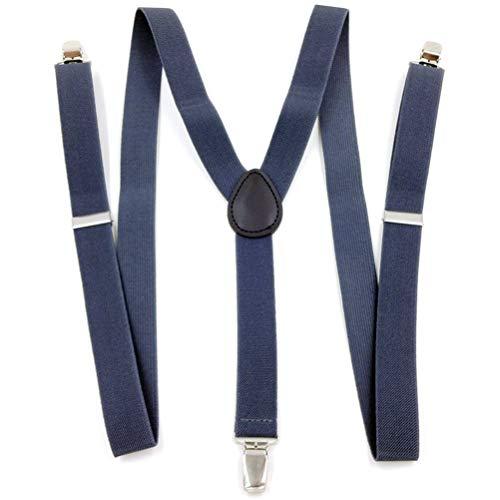 GAOJIAN Clip de Correa Universal Tipo Y Tirantes Ajustables de 3 Clips Pantalones y Camisas Bandolera elástica Shirt Stays Navy Blue