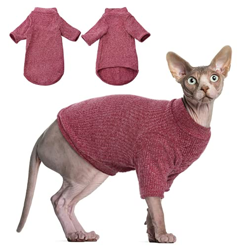 Haarlose Katzen-Weste Rollkragenpullover, atmungsaktiv, entzückende Katzenbekleidung, Pullover Kätzchen-T-Shirts mit Ärmeln, Katzen-Pyjama Jumpsuit für Sphynx, Cornish Rex, Devon Rex, Peterbalg