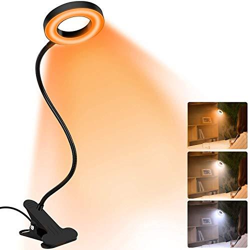 Lámpara e Lectura LED de luz de Libro,Lámparas Clip USB para Libro,Luz De Lectura Con Abrazadera USB Portátil Flexible Regulable,...