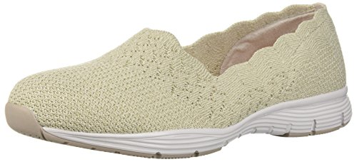 Skechers Women's Seager-STAT-Scalloped Collar, Engineered Skech-Knit Slip-On-Classic Fit Loafer, Natural, 11 M US