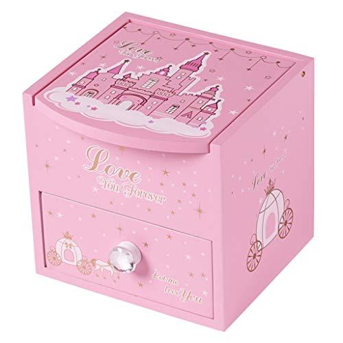 Joyero para niños, Caja de Almacenamiento de Accesorios para el Cabello de Dibujos Animados, con Espejo de Maquillaje, Diseño de cajón, para bebé, Niña, Rosa