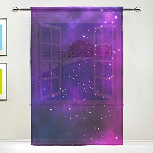 ALARGE Durchscheinender Vorhang für Fenster, Universum, Weltraum, Galaxie, Nebel, Voile-Vorhang für Küche, Wohnzimmer, Schlafzimmer, 140 x 213 cm lang, 1 Stück