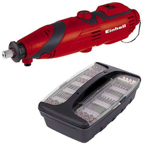 Einhell 4419169 Multiherramienta TH-MG 135 E con 189 accesorios, maletín, eje flexible, 135 W, 230 V, color rojo