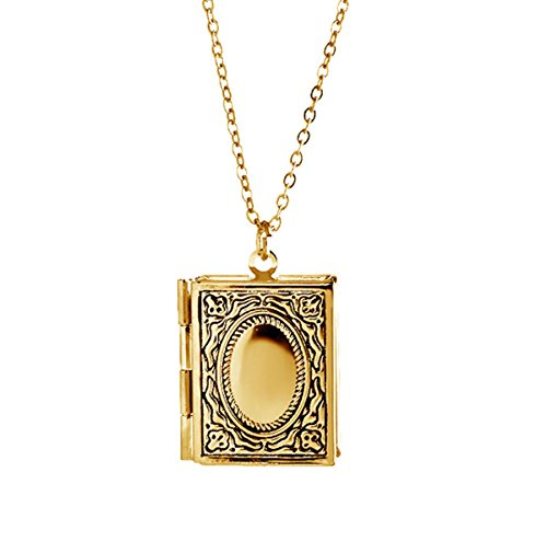 Kebaner Gold Living Memory Christian Story Book Bible Square Locket Pendant Necklace Engraved Jewelry