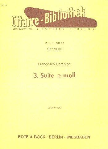 Suite Nr. 3 e-Moll: Gitarre. (Gitarre-Bibliothek, Nr. 29)