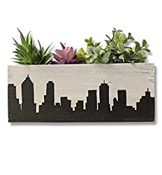 city skyline silhouette art ~ succulent planter
