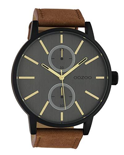 Oozoo C10503 - Orologio da uomo Chrono Look con cinturino in pelle, 50 mm, nero/grigio/marrone