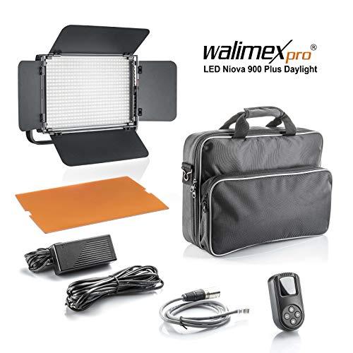 Walimex pro Niova 900 Plus Daylight – LED Videoleuchte Dauerlicht Flächenleuchte, 54 Watt, 900 LED, dimmbar, 5600K, 6.500 Lumen, CRI ≥ 97 Ra, DMX + Fernbedienung, 2X NP-F Akku Slots + Netzteil