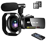 Video Camera 4K Camcorder Vlogging Camera Recorder with Microphone 30MP 3' LCD Webcam Function Touch Screen 18X Digital Zoom YouTube Camera