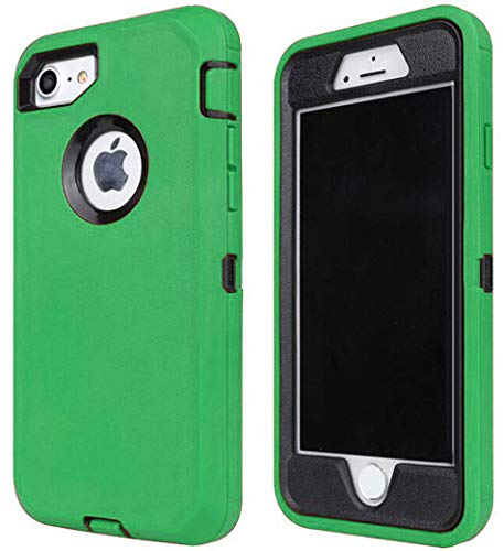Annymall Case Compatible for iPhone 8 & iPhone 7, Heavy Duty [with Kickstand] [Built-in Screen Protector] Tough 4 in1 Rugged Shorkproof Cover for Apple iPhone 7 / iPhone 8 (Green/Black)