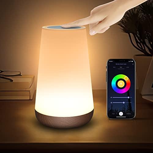 WLAN Smart Lampe, Warmweiß Light Nachttischlampe Touch Dimmbar Kompatibel mit Alexa & Google Assistant, Led Tischlampe Dimmbar mit Farbwechsel /Timer /Szene für Schlafzimmer /Wohnzimmer