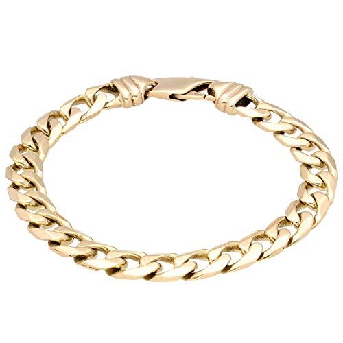 Pulsera para hombre de oro amarillo de 9 quilates de 8 pulgadas (8 mm de ancho) | One of a Kind Jewellery