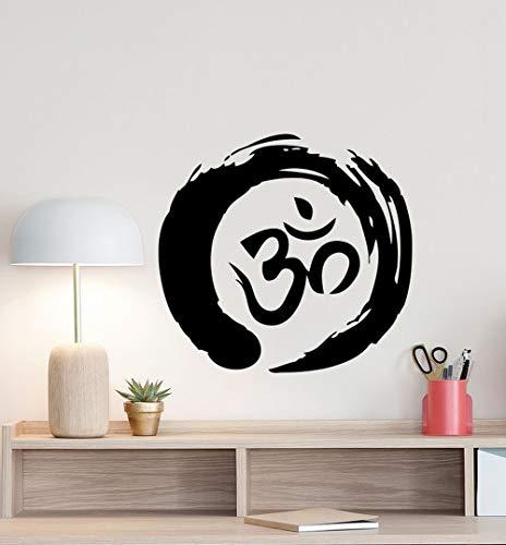 BailongXiao Cerchio Zen Simbolo murale Adesivo Ohm Buddismo Poster Segno Rotondo Adesivo in Vinile Ufficio Meditazione Decorazione Famiglia Camera da Letto 45x42cm