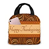 shenguang Bolsa de almuerzo con aislamiento portátil, Happy Thanksgiving Organizador de almuerzo a prueba de agua Cierre de cremallera Bolsa de asas de preparación de comidas para trabajo, e