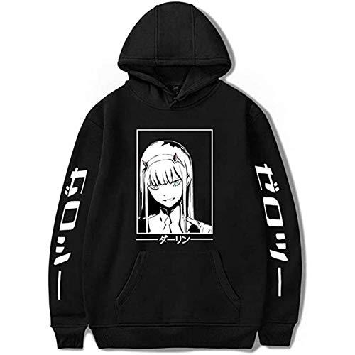 BUBABOX Anime Darling in the FRANXX Hoodie Print ZERO TWO Sweatshirt 02 Pullover Tops( m Black-white)