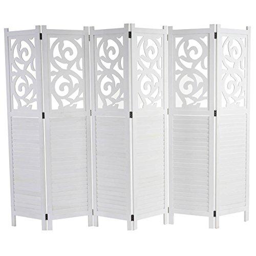 Mendler Paravent Istanbul, Raumteiler Trennwand Sichtschutz, Ornamente - 170x240cm, weiß