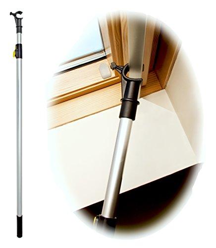 WinHux® Teleskop-Bedienungsstange, Teleskopstange, Fensterstange zum Öffnen und Schließen von VELUX® Dachfenster UND Jalousien 1,2 – 2,0 m SILBER