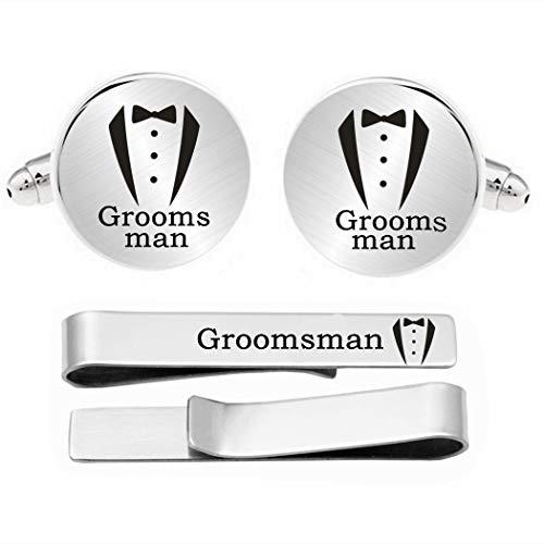 Kooer Groomsman Cufflinks Personalized Wedding Engraved Cuff Links Gift for Men (Groomsman)