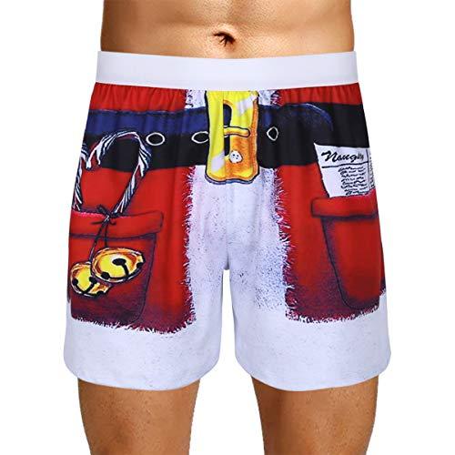 iEFiEL Herren Weihnachten Boxer Christmas Motiv Boxershorts Lustig Unterwäsche Kostüm Weihnachtsmann Nikolaus Geschenk M-XXL Rot Medium